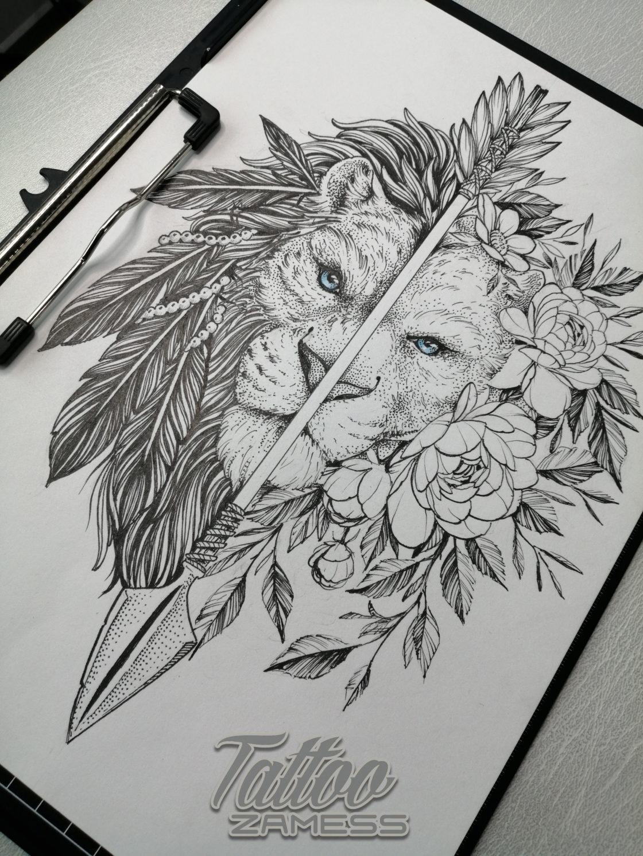 Эскиз тату льва